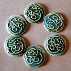 6 Handmade Stoneware Buttons - Celtic Knot Buttons - Moss green buttons - beadfreaky $12.00