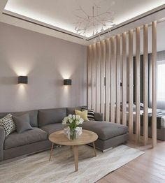 Excellent Contemporary Living Room Decor Idea Try For You 05 Living Room Partition, Living Room Divider, Bedroom Divider, Partition Walls, Bedroom Sofa, Living Room Lighting, Apartment Interior, Interior Design Living Room, Modern Interior