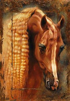Beautiful horse painting. Pretty horse with a long wavy golden mane by Janice Darr Cua Art. Please also visit www.JustForYouPropheticArt.com for more colorful art you might like to pin or purchase. Thanks for looking!