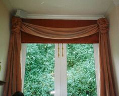 Custom Window Coverings, soft swag with rosettes, waterfall panels, roman valance. Chelsea Upholstery & Window Coverings San Rafael Ca. 415 453-6474