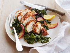 Get Almond Fried Chicken with Roasted Kale and Apples Recipe from Food Network