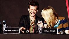 Andrew Garfield and Emma Stone (gif) I happily present them with the cutest couple in the universe award.