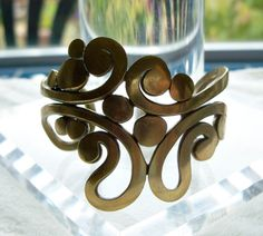 Mid Century Modern Brass Bracelet - Brass Cuff - Studio Bracelet - Abstract - Cast Bracelet - Organic - Unusual - 1970's - Vintage by Oldtreasuretrunk on Etsy