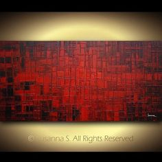 Red Black Modern Abstract Art | ORIGINAL Large Contemporary Abstract Art Modern Red Black Palette ... #abstractart