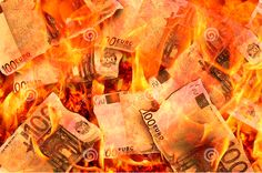 Burning Flames 100 Euro Banknotes Stock Photo - Image of bills, disaster: 40679960