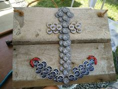 Beer Cap Anchor on old barn wood by Crochetbyburton on Etsy Beer Bottle Top Crafts, Beer Cap Crafts, Bottle Cap Projects, Diy Bottle, Anchor Crafts, Bottle Cap Art, Old Barn Wood, Driftwood Crafts, Recycled Crafts