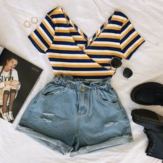 WEEKEND WEARS ⚡ Get ready for the warmer weather in our Miller Crop Top x Dallas Paperbag Shorts ♡ Online now babes! Cute Casual Outfits, Cute Summer Outfits, Pretty Outfits, Stylish Outfits, Teen Fashion Outfits, Look Fashion, Outfits For Teens, Girl Outfits, Tumblr Outfits