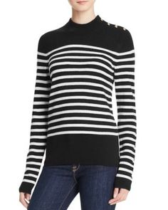 AQUA Cashmere Stripe Mock Neck Cashmere Sweater | Bloomingdale's