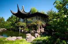 """The Chinese Scholar's Garden, Staten Island, New York. (Photo credit & copyright: Bill Gent) The moon-viewing pavilion overlooking a pond would be a perfect place to celebrate the autumnal equinox Moon. ©Mona Evans, """"Autumnal Equinox"""" http://www.bellaonline.com/articles"""