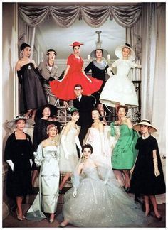Yves Saint Laurent and the house models of Maison Dior Christian Dior, Spring 1958 Couture
