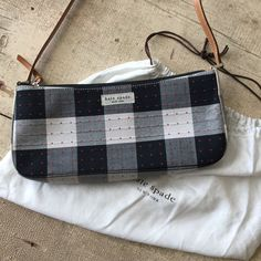 Kate Spade gingham purse like new! Black and white buffalo check with red mini dots. Take an all black outfit to the next level with this adorable graphic purse! kate spade Bags