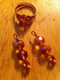 Czech faceted glass on copper wired ring and earrings set.