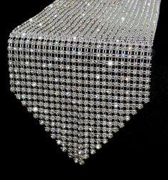 "Crystal Rhinestone Table Runner for Weddings or Christmas Parties - 45"" Long | eBay"