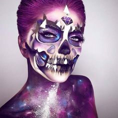 Awesome Galaxy Skeleton Makeup Look for Halloween
