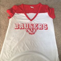 Victoria secrets pink wis. badger jersey style t Small worn twice last seasons collection no stains smoke free house PINK Victoria's Secret Tops Tees - Short Sleeve