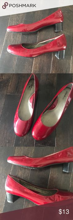 Red Eddie Bauer Leather Kitten Heels Hardly used and super cute. Priced for a quick sale. Nice squishy insole😍 Leather upper. Eddie Bauer Shoes Heels