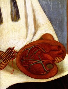 1951 Frida Kahlo Autoportrait avec le portrait du Dr Farill, Détail le coeur, Self-portrait with the portrait of Dr. Farill, Detail the heart. #Art #Mexico #deFharo