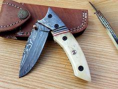 NEW CUSTOM HAND MADE DAMASCUS STEEL LOCKABLE FOLDING KNIFE F-31
