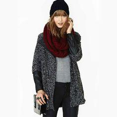 Leisure Stylish Lapel Spliced Mixing Color Warm Coat