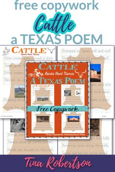 """Free Copywork Cattle A Texas Poem For a Fun Unit Study. Whether you're learning about Texas cowboys or cattle drives or the birth the Texas frontier, the poem by Berta Hart Nance in part says """"other states were carved or born, Texas grew from hide and horn"""" embodies the spirit of Texas. CLICK here to download this free copywork at Tina's Dynamic Homeschool Plus. Curriculum Planner, Homeschool Curriculum, Homeschooling, Texas Cowboys, Alternative Education, Texas History, Unit Studies, Language Arts, Birth"""