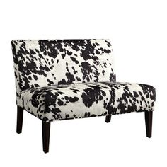 Easton Black Cow Hide Fabric 2-seater Accent Loveseat   Overstock.com Shopping - The Best Deals on Sofas & Loveseats