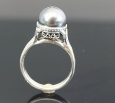 925 Sterling Silver and Grey Swarovski Pearl Ring.   handmade sterling silver jewelry engagement rings