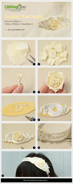 Do you like wearing DIY ribbon headband? This Pandahall free tutorial will show you how to make a yellow ribbon headband. Ribbon Art, Diy Ribbon, Ribbon Crafts, Flower Crafts, Ribbon Bows, Ribbons, Diy Baby Headbands, Ribbon Headbands, Fleurs Kanzashi