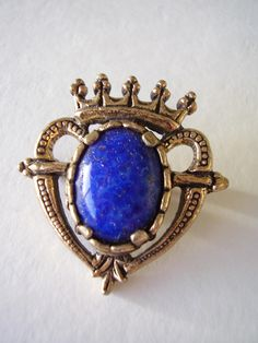 Signed Miracle Brooch Blue Faux Lapis Lazuli Luckenbooth Scottish Celtic Vintage Pin by Vintage0Sparklers on Etsy