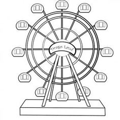 How To Draw A Ferris Wheel by koreacow Online Coloring Pages, Colouring Pages, Coloring Sheets, County Fair Projects, Shopkins Drawings, Dream Catcher Drawing, Fair Rides, Halloween Circus, Free Hand Drawing