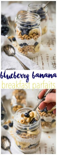 """Say """"goodbye"""" to boring breakfasts! TheseMake-Ahead Blueberry Banana Breakfast Parfaits taste like a decadent dessert... for breakfast! Make them the night before or in a matter of minutes in the morning. Perfect as a morning meal or even a snack!"""