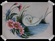 Swan Painting, One Stroke Painting, Tole Painting, Fabric Painting, Painting & Drawing, Painted Rocks, Hand Painted, Bird Coloring Pages, Acrylic Painting Techniques
