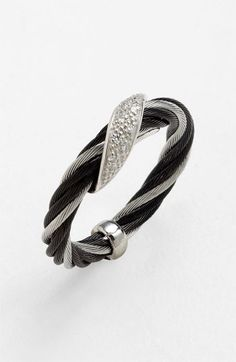 This would be so perfect w/ matching braclet! ALOR® 'Modern Cable Mix' Diamond Wave Twist Ring available at #Nordstrom