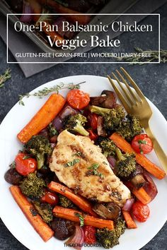 One-Pan Balsamic Chicken Veggie Bake is quick to prep and in the oven for less than 20 minutes. Delicious Dinner Recipes, Good Healthy Recipes, Easy Healthy Dinners, Whole 30 Recipes, Paleo Recipes, Real Food Recipes, Chicken Recipes, Entree Recipes, Easy Dinners