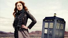 Doctor Who - Amy Pond in front of the Tardis.