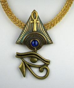 Egyptian pyramid, ankh, eye of horus