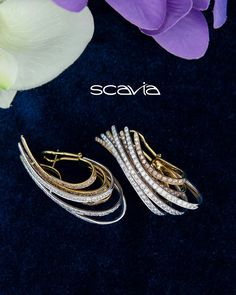 Scavia #scaviabaku #sandradiacollection #italianjewels Heavy Earrings, Cute Earrings, Beautiful Earrings, Beaded Earrings, Rose Gold Bridal Jewelry, Gold Jewelry, Jewelery, Fashion Earrings, Fashion Jewelry