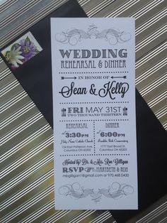 Skinny Modern Black & White Vertical Rehearsal Dinner Invitation #rehearsaldinner #affordablewedding