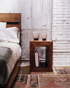 Chunky, wood pieces add warmth to a space and lets textures and colors of textiles take the stage.