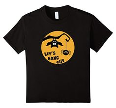 Kids Let's Hang Out Spider and Bat Halloween T-Shirt. Novelty Halloween Shirt