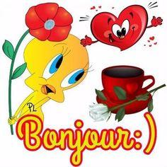 Bonjour :) #bonjour titi fleur coeur tasse rose blanche