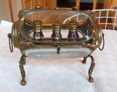 Antique French Brass Bevelled Glass 3 Bottle Perfume Casket on Feet