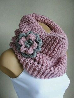 Items similar to PINK scarf- Accessories- Infinity scarf - Knitted cowl scarf- winter scarf-fashion women scarf-Neckwarmer- christmas gift on Etsy Bonnet Crochet, Crochet Poncho, Knitted Shawls, Love Crochet, Crochet Scarves, Diy Crochet, Crochet Clothes, Crochet Stitches, Crochet Baby