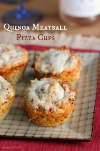 Quinoa Meatball Pizza Cups on MyRecipeMagic.com Dig in to these gluten-free Quinoa Meatball Pizza Cups at your next party or family dinner!