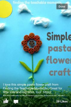 Pasta flower: Easy spring craft for toddlers