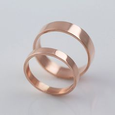 Rose Gold Wedding Bands Recycled Hand Forged by VKDesignsJewelry 3mm & 5mm