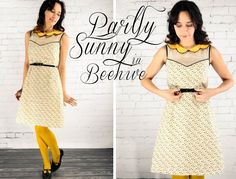 Grosgrain: Partly Sunny Frock in Beehive PATTERN & INSTRUCTIONS- sheer fabric, piping, bias tape, invisible zipper