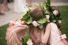 Hair inspiration for your little flower girl(s). It is a really cute way with these wreaths in their hair!