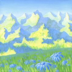 "Mountains landscape painting with blue daisies. Acrylic painting ""BLUE DAISIES"" by VyGotte. Positive Art for Positive Life."