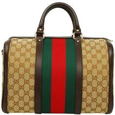 GUCCI GG Logo Web Boston ($845) ❤ liked on Polyvore featuring bags, handbags, purses, hand bags, brown bag, logo handbags, man bag and stripe purse