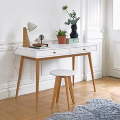 Bright, sleek and slender, this JIMI desk is a delight for any home, combining the best of retro and contemporary style – and offering useful storage. Home Office Design, Home Office Decor, Office Desk, Deco Furniture, Home Office Furniture, Furniture Design, Wooden Stools, Desk With Drawers, Modern Interior